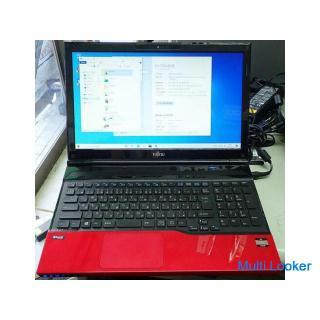 中古  富士通 ノートパソコン FMVAH40/J E2-1800 メモリ4GB SSD256GB win10 HOME