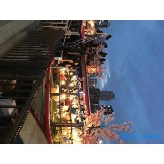 9/12(日) BBQクルージング 桜装飾船貸切 開放感◎ 受付で体温チェック等のコロナ対策◎
